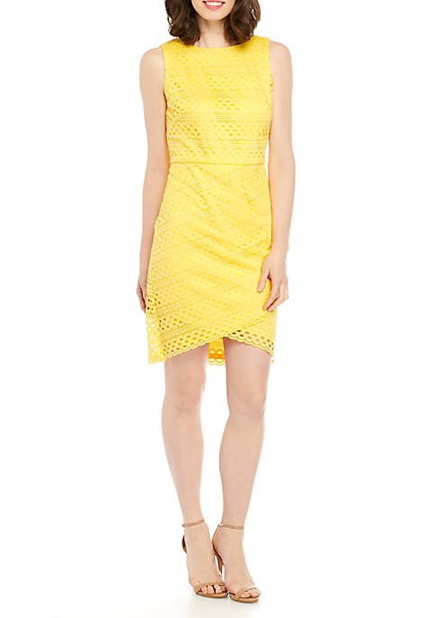 Jessica Howard Sleeveless Eyelet Knit Sheath Dress