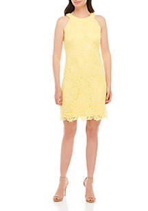 Jessica Howard Lace Halter A Line Dress