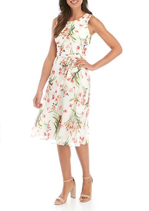 Jessica Howard Sleeveless Chiffon Fit and Flare Dress