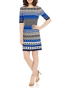 Jessica Howard Elbow Sleeve Printed Shift Dress