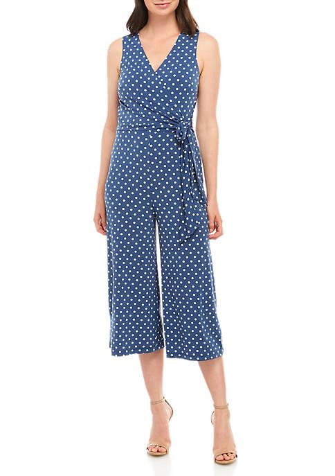 Jessica Howard Sleeveless Polka Dot Jumpsuit