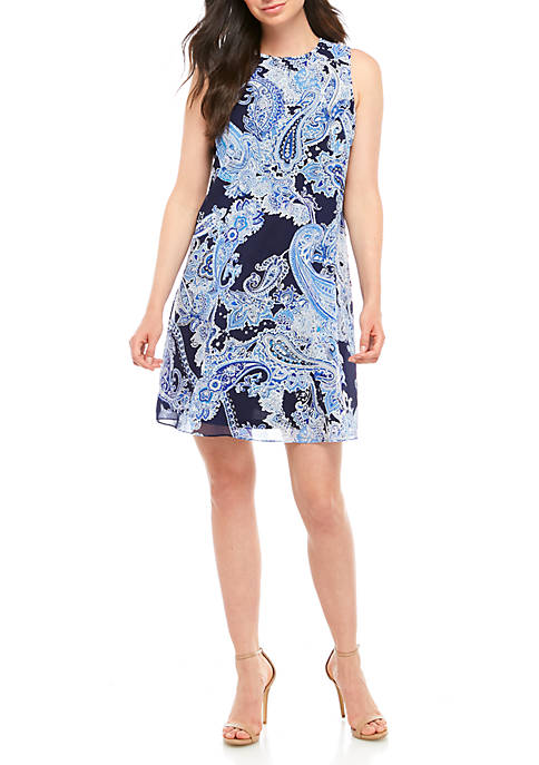 Jessica Howard Chiffon Paisley A Line Dress