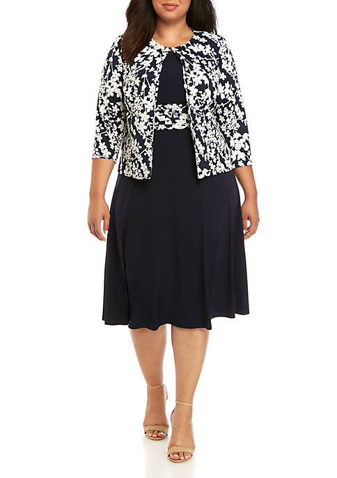 Jessica Howard Plus Size Floral Puff Jacket Dress