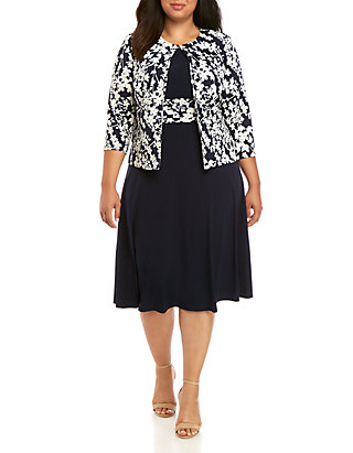 Jessica Howard Plus Size Floral Puff Jacket Dress Set