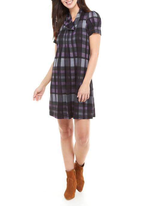 Jessica Howard Womens Short Puff Sleeve Plaid Dress