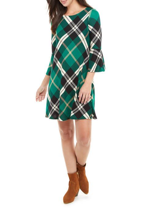 Jessica Howard Womens Plaid A-Line Bell Sleeve Dress