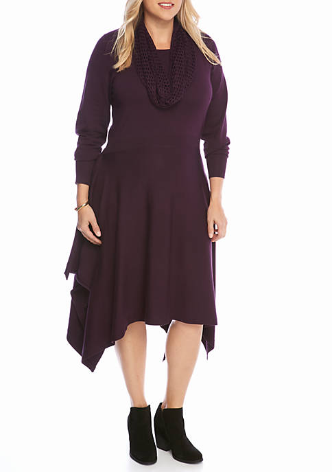 a7f2b0eb6c1 Lennie For Nina Leonard Plus Size Hankie Hem Sweater Dress with ...
