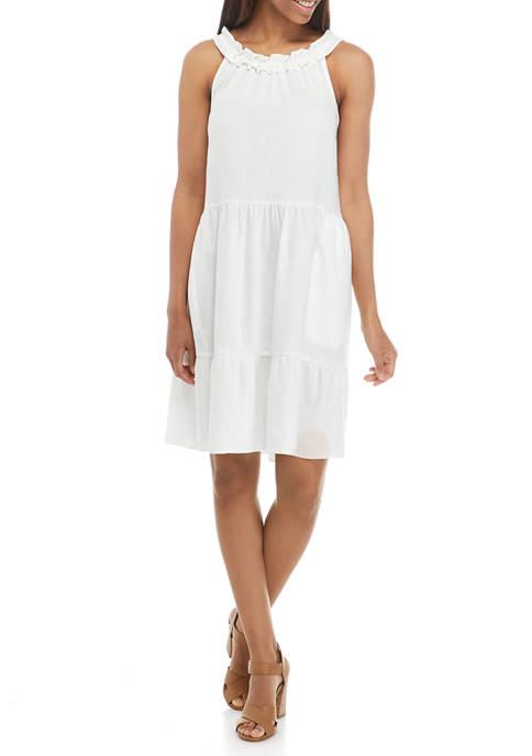 Womens Sleeveless Ruffle Halter Tier Linen Dress