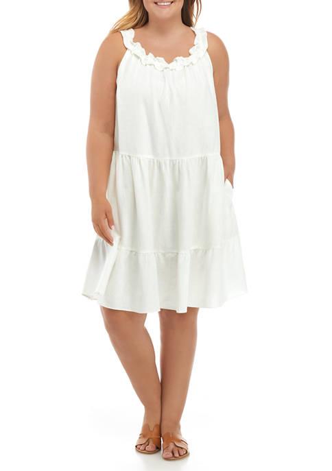 Plus Size Ruffle Neck Tiered Dress