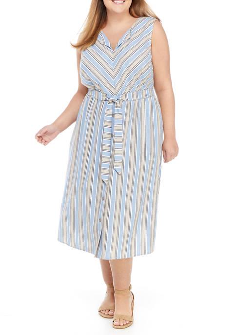 Plus Size Sleeveless Striped Split Neck Tie Waist Linen Dress