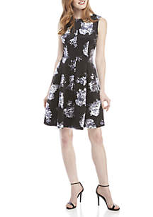Fit And Flare Floral Foil Print Dress