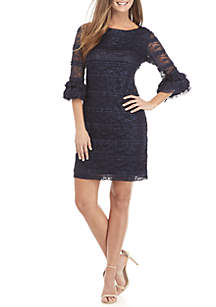 3/4 Ruffle Sleeve Lace Dress