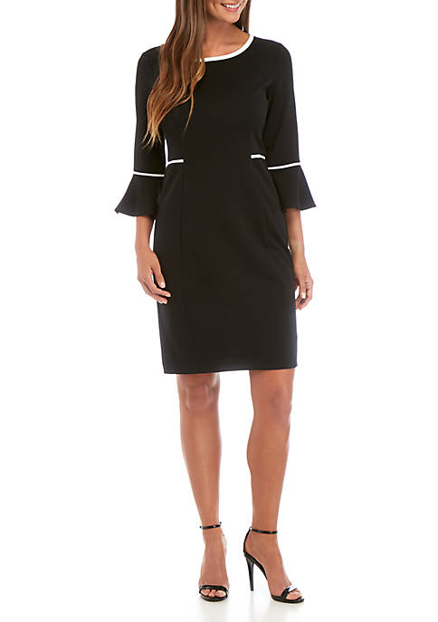 Solid Bell Sleeve Dress with Trim