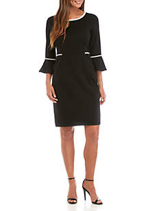 Studio 1 Solid Bell Sleeve Dress with Trim