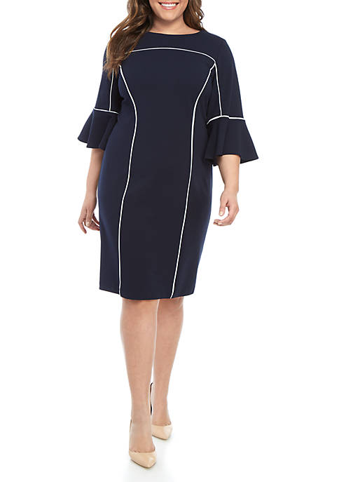 Studio 1 Plus Size Bell Sleeve Solid Shift