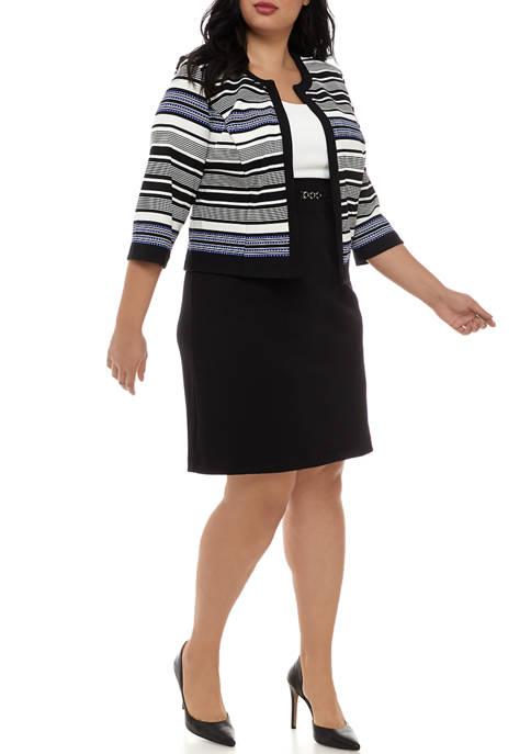 Plus Size 3/4 Sleeve Jacket and Dress