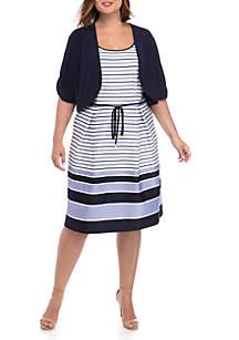 Studio 1 Plus Size Textured Knit Jacket Dress