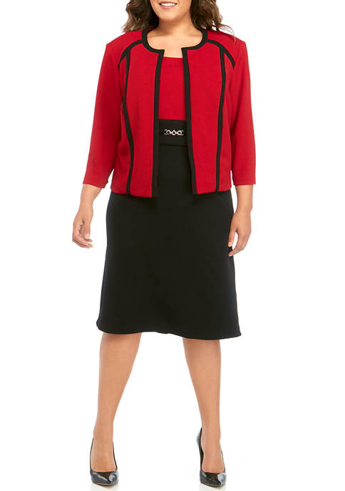Plus Size 2 Tone Jacket Dress