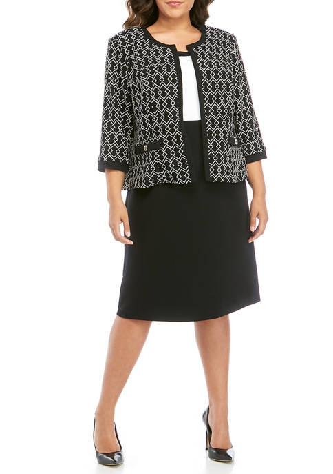 Plus Size Printed Color Block Jacket Dress