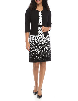 Women\'s 3/4 Sleeve Print Jacket and Dress