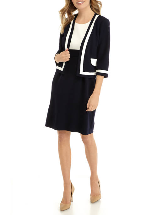 Petite 3/4 Sleeve Tipped Jacket and Color Block Sheath Dress