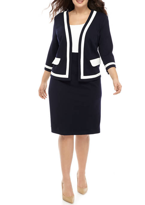 Plus Size 3/4 Sleeve Color Block Jacket Dress