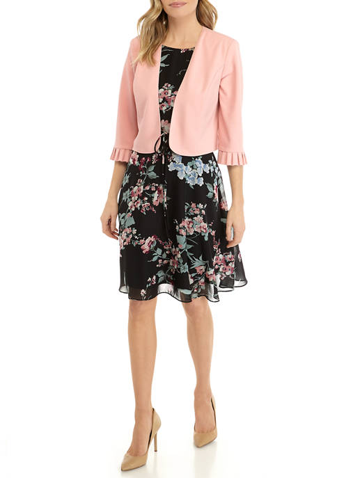 Womens 3/4 Ruffle Jacket and Floral A Line Dress
