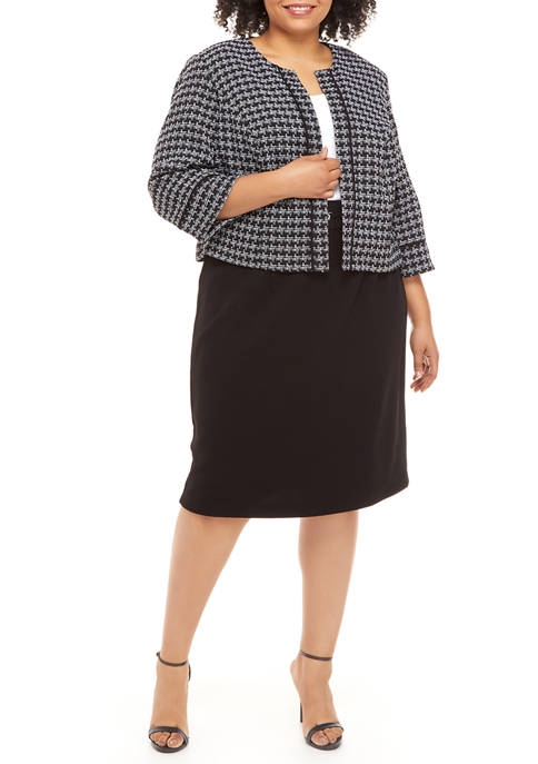Plus Size Houndstooth Jacket and Colorblock Dress