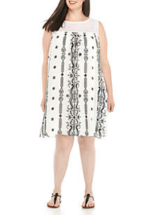 Plus Size Sleeveless Print A-Line Shift Dress