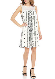 Sleeveless Printed A-Line Shift Dress