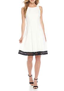 Sleeveless Solid Lace Trim Hem Dress