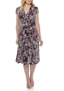 Short Sleeve Faux Wrap Paisley Puff Day Dress