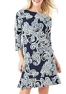 Paisley Print Flounce Hem Dress