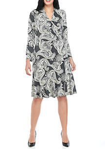 Plus Size Faux Wrap Paisley Dress