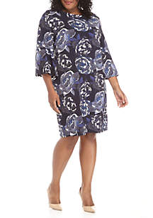 Plus Size Bell Sleeve Large Puff Floral Day Dress