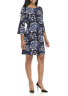 3/4 Bell Sleeve Large Floral Print Dress
