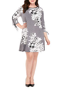 Plus Size Puff Print Long Sleeve Swing Dress