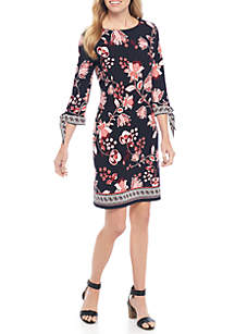 Long Sleeve Peasant Dress With Tie Puff Sleeves