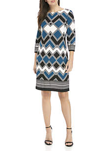 3/4 Sleeve Tricolor Zig Zag Sheath Dress