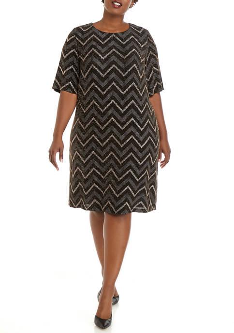 Plus Size 3/4 Sleeve Zig Zag Print Shift Dress
