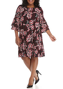 Plus Size Bell Sleeve Floral Puff Print Day Dress