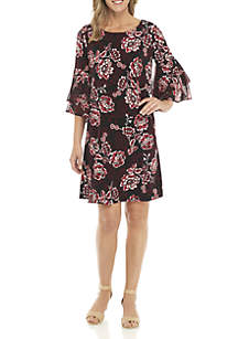 3/4 Tiered Bell Sleeve Floral Print Dress