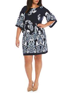 Sandra Darren Plus Size Paisley Puff Print Dress
