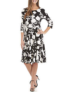 Long Sleeve Foiled Floral Side Ruched Dress