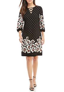 X-Neck Dot Print Dress