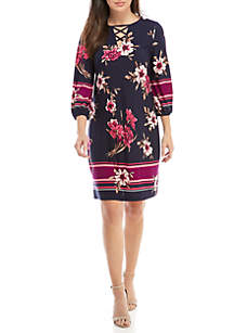 Keyhole Lace Neck Floral Dress