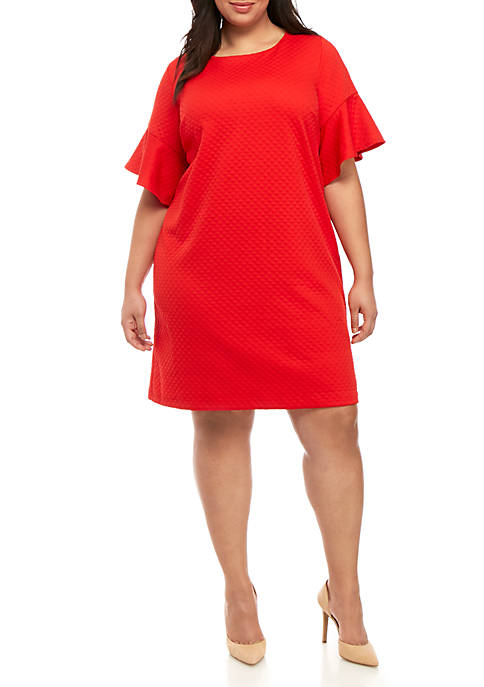 Plus Size Bell Sleeve Textured Dress