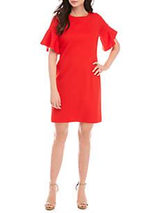 52d8f0c568 ... Sandra Darren Short Bell Sleeve Textured Shift Dress