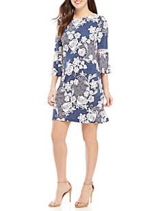 Bell Sleeve Puff Print Dress