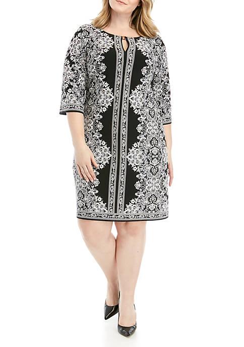 Plus Size Bar Neck Puff Print Dress